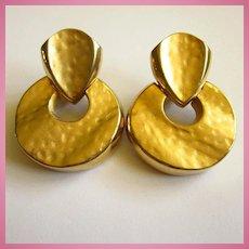 Bold Door Knocker Statement Gold Plate Clip Earrings