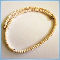 Natural Organic Conch Shell Heishi Necklace