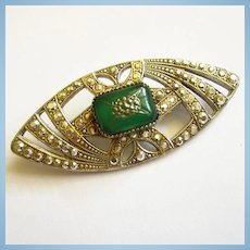 Art Deco Marcasite Green Chrysoprase Brooch Pin