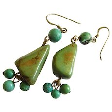 Native American Genuine Natural Turquoise Sterling Silver French Hook Earrings