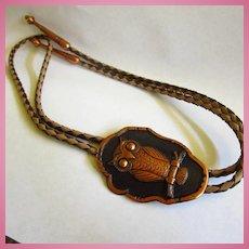 Unique Copper Signed Owl Leather Bolo Tie
