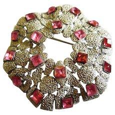 Signed Crown Trifari Modernist Amazing Rare Brooch Pin