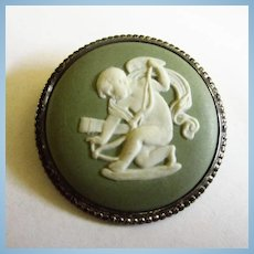 Wedgewood Signed England S66 Cherub Angel Sterling Brooch Pin