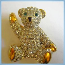 Stunning Pave Set Swarovski Clear Crystals Teddy Bear Figural Brooch Pin