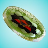 Gorgeous Hand Blown Modernist Bold Artist Glass Brooch Pin