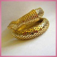 Whiting and Davis Signed Iconic Double Scaled Snake Bracelet Mint