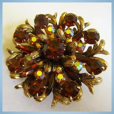Selini Signed Fabulous Topaz AB Crystals Fabulous Brooch Pin