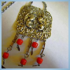 Fabulous Double Winged Griffins Coral Statement Pendant Necklace