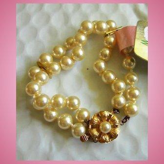 Double Strand Mallorca Pearls Vermeil Clasp NOS Bracelet