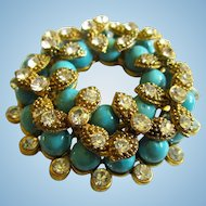 Sparkling fx  Persian Turquoise Crystal Signed Vintage Statement Pendant
