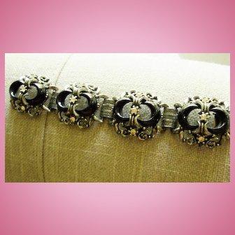 Stunning Wide 1940s Ornate Black Silvertone Crystal Vintage Statement Bracelet