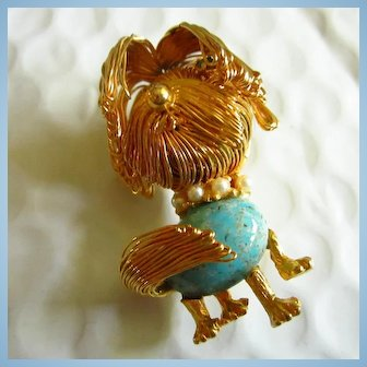 Shaggy Dog Figural Wired Turquoise Art Glass Jelly Belly fx Pearl Collar Brooch Pin