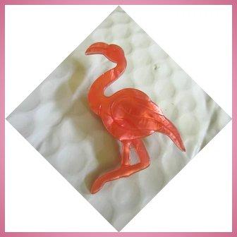 Early Lea Stein Signed Art Deco Stylized Pink Flamingo Paris Brooch Pin