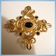 Huge Matte Gold color Black glass Cabochon Statement Brooch Pin