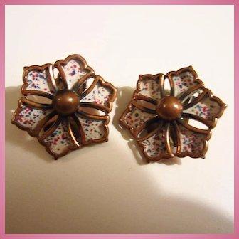 Rebajes Signed Enamel Copper Modernist Earrings