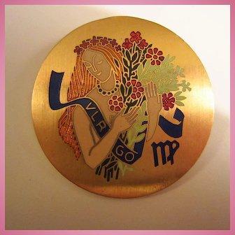 1960s Virgo Zodiac Enamel Woman Flowers Round Gold Plate Brooch Pin