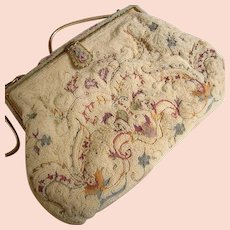 Paris French Micro Seed Hand Made Tambour Point de Beauvais Gorgeous Purse