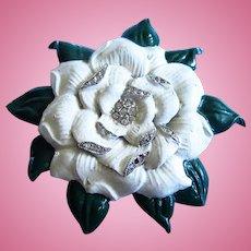 Large Flower White Green Rhinestone Statement Fur Clip