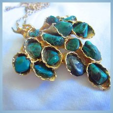 Malachite Stones Cascading Modernist Gold Plated Brooch Pendant Chain