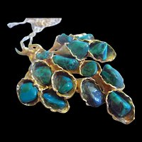 Malachite Stones Cascading Modernist Gold tone Brooch Pendant Chain