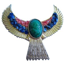 Accessocraft Signed Egyptian Revival Scarab Winged Statement Brooch Pin