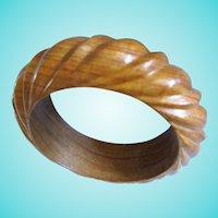 Beautiful Carved Wood Swirl Bangle Bracelet