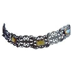 Art Deco Czech Citrine Crystals Ornate Antique Gold Plate Bracelet