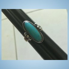 Native American Southwest Sleeping Beauty Turquoise Sterling Silver Vintage Ring