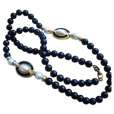 Napier Classic Long Black Strand fx Pearls Enamel Reversible Necklace