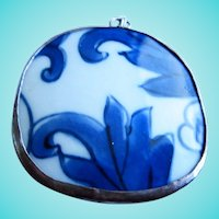 Antique Porcelain Asian Blue White Vintage Pendant