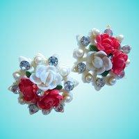 Lovely Seashell Handmade Tourist Earrings Circa 1950s.