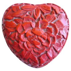 Chinese  Cinnabar Red  Heart Chinoiserie  Box