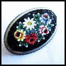Gorgeous Oval Floral Mosaic Italy Vintage Brooch Pin
