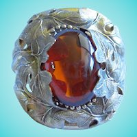 Whiting & Davis Huge Art Nouveau Style Amber Glass Statement Cuff Bracelet