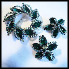 Weiss Signed Emerald Green AB Crystals Sparkling Brooch Earrings
