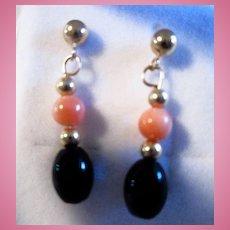 Pink Black Coral 14K Gold Earrings Maui  NOS Original Box Paperwork
