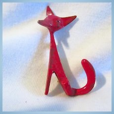 Stylized Red Fox Figural Brooch Signed Accessocraft