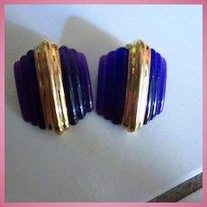Art Deco Style Deep Purple Geometric Lucite Statement Pierced Earrings
