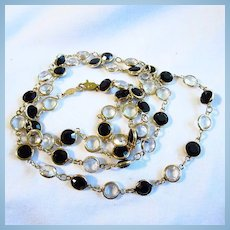 Black Clear Austrian Crystal Long 36 Inch Necklace