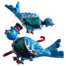 Coro Gene Verrecchio  Blue Birds Top Hat Cane Art Deco Jelly Belly Enamel Scatter Pins