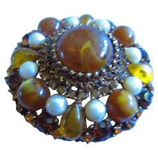 Large Amber Lucite Crystal Rhinestone fx Pearls Statement Brooch
