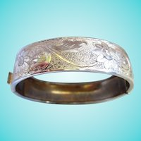 Engraved Gold Plated Vintage Bangle Bracelet