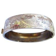 Engraved Gold Plated Vintage Bangle Bracelet