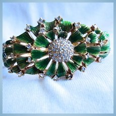 Stunning Emerald Green Enamel Flower Pave Crystal Bangle Bracelet