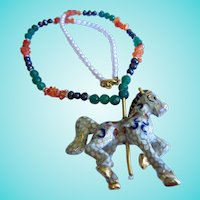 Fabulous Cloisonne Carousel Horse Gemstone Pearl Statement Necklace