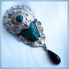 Mexican Face Mask Green Black Onyx Dangle Brooch