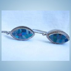 Opal Mosaic Sterling Silver French Hook Earrings