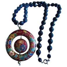 Gorgeous Cloisonne Pendant Black Faceted Hand Cut Glass Beads Statement Necklace