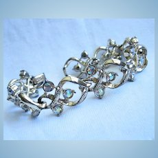 Coro Signed AB Crystals Gold tone Beautiful Bracelet
