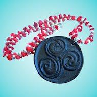 Coral Huge Wood Serpents Statement Pendant Necklace OAK